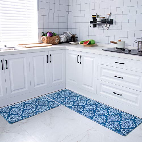 COSY HOMEER 59x18 Inch/30X18 Inch Cushioned Anti-Fatigue Kitchen Rug, 2 Pieces PVC Ergonomic Comfort Standing Foam Mats,Waterproof Non-Slip Kitchen Mats and Rugs for Floor Home Sink,Blue