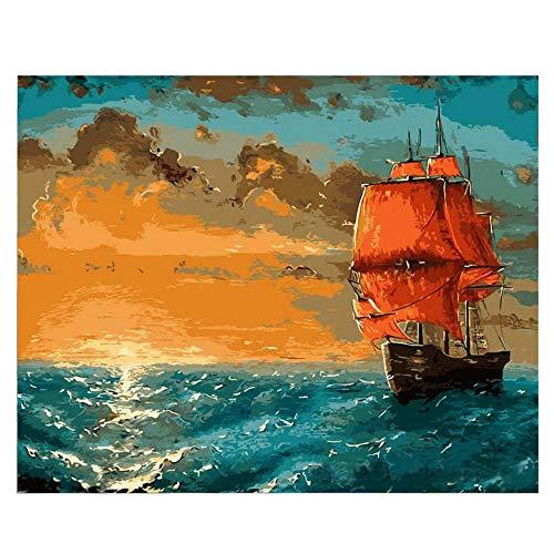 DIOPN schip zeilen doe-het-zelf schilderen op cijfers olieverfschilderij op canvas handgeschilderde acrylverf Home Art Digitale schilderij (zonder lijst) 40 * 50,50 * 60 cm) 40 * 50 cm