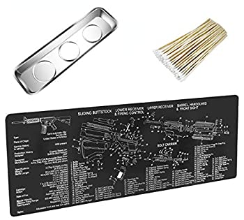 YCWEI YCWEI Gun Cleaning Mat Pad  36 by 12 Inches -with Magnetic Screws Tools Parts and Cotton swabs.for Handgun Rifle Cleaning-Non Slip and Solvent Resistant-with Ar15 Parts Diagram