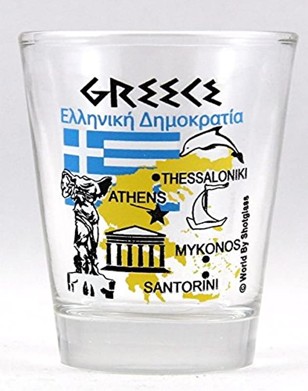 Greece Landmarks And Icons Collage Shot Glass