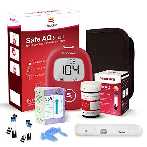 Misuratore di Glicemia, Diabete test kit glucosio nel sangue, Sinocare AQ Smart Kit di monitoraggio dello zucchero con 25 strisce codefree reattive per i diabetici in mg/dL
