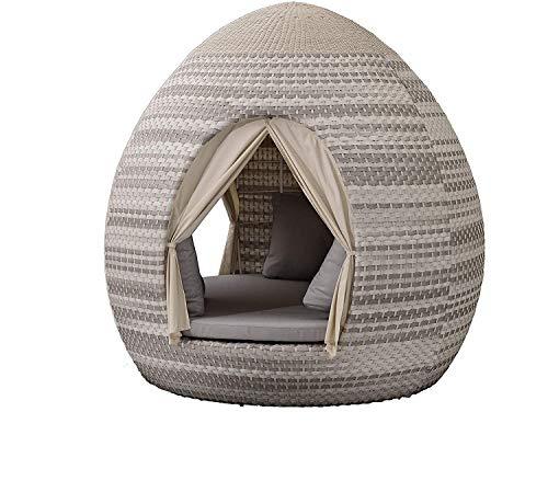 Egg Daybed mit Vorhängen - 360° Drehtechnik Sonnenliege (Harkers Island Wash Duo 24 Weaving)
