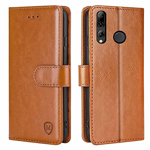 FMPCUON Hülle für Huawei P Smart Plus 2019 Handyhülle [Standfunktion] [Kartenfach] [Magnetverschluss] Tasche Flip Hülle Schutzhülle lederhülle flip case für Huawei Honor 20 Lite Braun