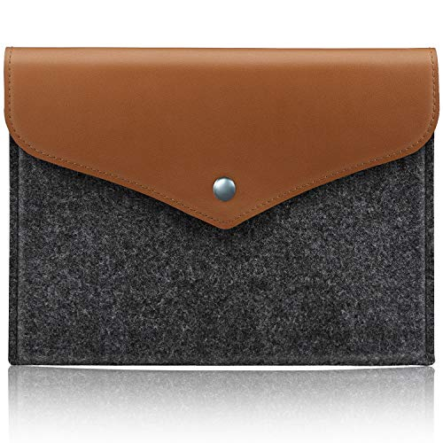 Dadanism 9-10 Inch Tablet Sleeve Case Compatible with Kindle & All-New Amazon Fire HD 10 2019/2017/2015, Felt & PU Leather Carrying Bag Cover Protective Pouch Fit Fire HD 10.1 Inch, Light Grey & Brown