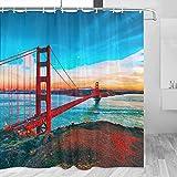 USA Amerika Golden Gate Bridge San Francisco Duschvorhang Reise Badezimmer Dekor Set mit Haken Polyester 183 x 183 cm (YL-06329)