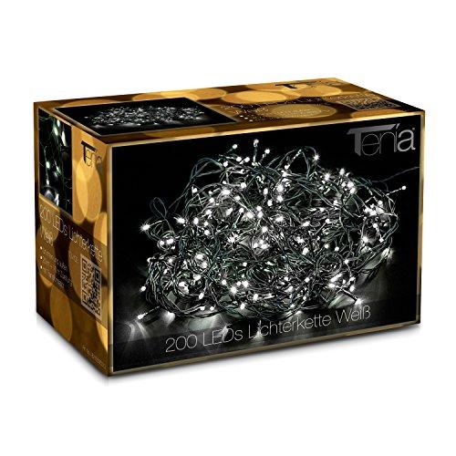 Tenia 200 LED Lichterkette Weiß (Kaltweiß) 18M für Innen und Außen Weihnachten