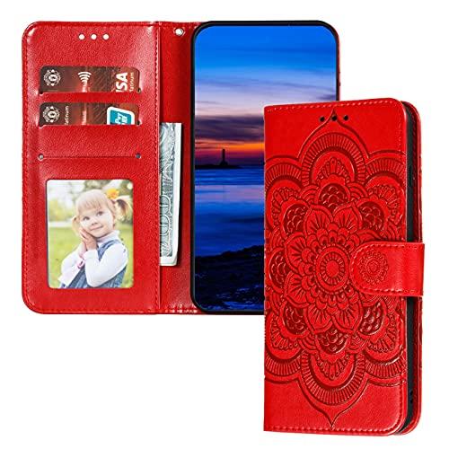 QIWEIQING Motorola Moto Z4 Play Hülle PU Leder Cover Schutzhülle Magnet Tasche Flip Handytasche im Bookstyle Kartenfächer Lederhülle für Motorola Moto Z4 Play Red Mandala LD