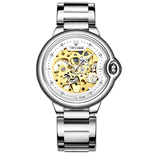 QZPM Hombres Automático Mecánico Relojes Acero Inoxidable Bracelet Multifunción Impermeable Cronógrafo Analógico Business Relojes,Blanco
