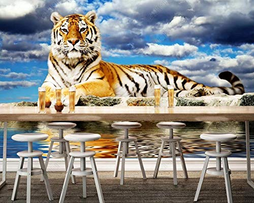 Papel Pintado 3D Tigre De Cielo Azul Y Nubes Blancas Fotomurale 3D Tv Telón De Fondo Pared Decorativos Murales Moderna