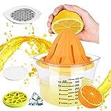 Exprimidor manual de naranjas 4 en 1, exprimidor de limones de cristal de 400 ml, rallador de queso, recipiente para cubitos de hielo con tapa, exprimidor de frutas sin BPA