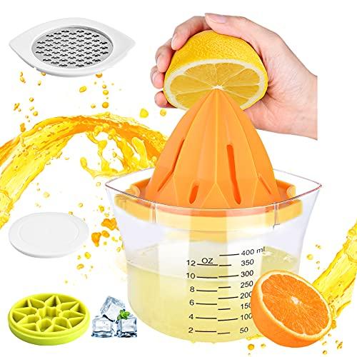 Saftpresse Manuell Orangenpresse 4 in 1 Zitronenpresse | 400ml Zitronenpresse glas | Käsereibe | Eiswürfelbehälter mit Deckel | BPA-frei eeFul Obst Limettenpresse Shakin Juicer Zitruspresse