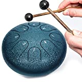 Steel Tongue Drum Percussion Instrument - for Yoga Meditation Mind Healing, Music Enlightenment Entertainment Gifts for Kids Adult Beginner (8 Notes 6 Inches)