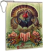 幸せな感謝祭のシャワーカーテン、バスルームのカーテンの装飾のためのバスルームポリエステル防水ファブリックバスタブセットフック付き60 X72インチ-鉄-72x72インチ