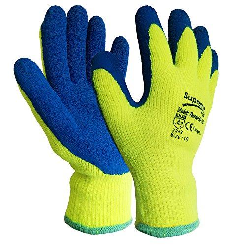 6 Pairs New HI VIZ Thermal Winter Latex Rubber Work Gloves Builders Gardening (Large)