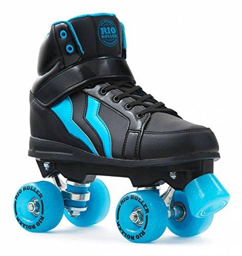 Rio Roller Kicks Style Quad Skate Child - Patines, Unisex Infantil, Negro (Black/Blue), 38