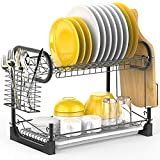 Dish Drying Rack, iSPECLE 2 Tier Dish Rack with Utensil Holder, Cutting Board Holder and Dish Drainer for Kitchen Counter, Plated Chrome Dish Dryer Black