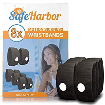 SafeHarbor 4-Pair Motion Sickness Wristbands   8 Sea Sickness Bands Cruise Ship Accessories   Natural Acupressure Sea Sickness and Nausea Relief in Children and Adults   Helpful E-Book Included