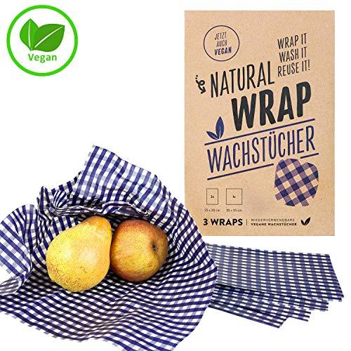 Natural Wrap Wachspapier 3er Set – Bienenwachstücher Ersetzt Alufolie Und Frischhaltefolie Enthält Zwei Tücher L 25 x 35 cm Und Ein Tuch XL 35 x 35 cm - Kariert/Blau - Ohne Bienenwachs (Vegan)