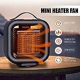Portatil Estufa Eléctrica Calefactor Cerámico de Aire,Personal Handy Heater Calefactor Bajo Consumo Silencioso con Mango,3 Modos Auto Oscilación,para Oficina,Casa,Hogar,650W / 1000W