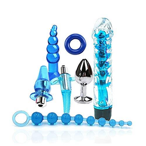 WANGLAOJIN Combinación Azul Sarga de algodón Hebilla de Metal cómoda Serie de Deportes de Asistente de Yoga (7PCS) A316