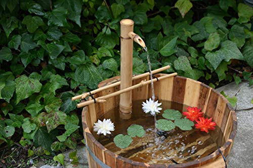 """Bamboo Accents Water Fountain with Pump, Backyard Pond Kit, Extra Large 24"""" Adjustable Style, Smooth and Split-Resistant, DIY Zen Bamboo Fountain"""