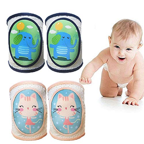 Baby Crawling Knee Pads, Baby Leggings,Adjustable Elastic Breathable Cushion, Non-Slip and Protect Infant Knees, Unisex Infant and Child Safety Knee Pads (2 pairs)