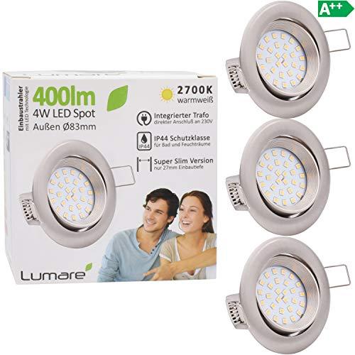 3x Lumare LED Einbaustrahler 4W 400 Lumen IP44 nur 27mm extra flach Einbautiefe LED Leuchtmodul austauschbar Deckenspot AC 230V 120° Deckenlampe Einbauspot warmweiß silber rund Badezimmer