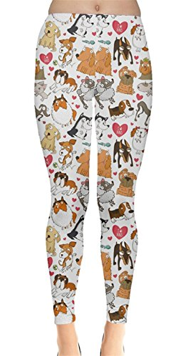 CowCow Colorful Pattern for Dog Lovers with Dogs and Hearts Women's Leggings, Colorful-M