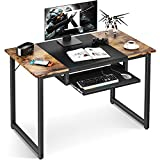 ODK Computer Office Desk with Keyboard Tray, 39 Inch Sturdy Home Office Desk for Small Space, Student Writing Desk with Splice Board, Vintage and Black