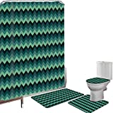 Juego de cortinas baño Accesorios baño alfombras Verde azulado Alfombrilla baño Alfombra contorno Cubierta del inodoro Expresionista Chevron Style Pattern Geometric Vibrant Coloured Modern Artful Deco