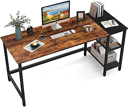 HOMIDEC Mesa de Ordenador, Escritorio de Computadora con Estantes Mesa de Estudio, Escritorios Modernos para Dormitorio, hogar, Oficina (140x60x75cm)