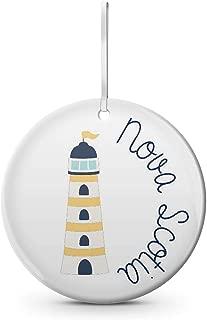Dozili Nova Scotia East Coast Maritime Ceramic Christmas Ornament White. Lighthouse Maritime Nautical Eastern Canada East Coast