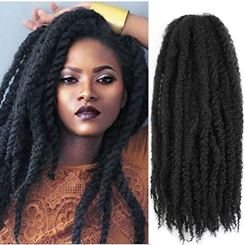 6Packs Marley Hair 18 inch Marley Hair For Twists Long afro kinky Twist Marley braiding hair Extension Synthetic Fiber Marley Braid Crochet Hair (1B#)