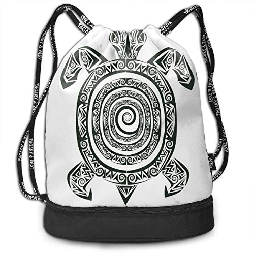 MLNHY Printed Drawstring Backpacks Bags,Maori Tattoo Style Figure of Sea Animal In Tribal Spiral Form Ancient Tropical Theme,Adjustable String Closure
