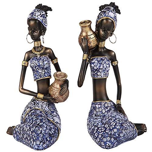 Ybzx Estatua Escultura de estatuilla Africana, Escultura de Mujer Decoraciones Hechas a Mano para el hogar, Regalo Vintage, Azul