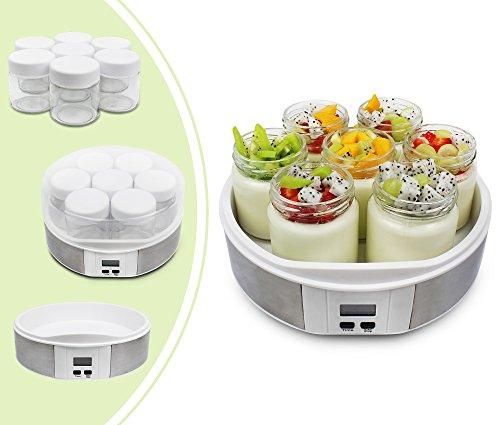 Leogreen - Yogurtera, Maquina para Hacer Yogur Casero, 7 tarros, con el contador de tiempo, 23 x 23 x 12 cm, Blanco, Capacidad por frasco: 0,21 L