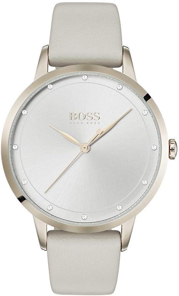 Hugo boss, orologio per donna con cinturino in pelle, quadrante argentato decorato con cristalli 1502461
