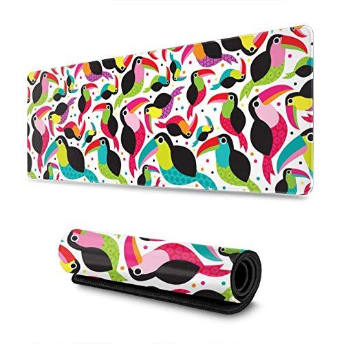 Alfombrilla de ratón Colorida de Tucan Birds, Alfombrilla de ratón Grande para Juegos de 30 x 80 cm, Alfombrilla de Escritorio con Base de Goma Antideslizante,