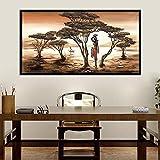 QWESFX Baum Frau Landschaftsmalerei Malerei Handgemalte Ölgemälde auf Leinwand Wolf Gemälde auf Leinwand Kunstdrucke Große Leinwand (Druck ohne Rahmen) A4 50x100CM