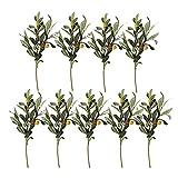 HUIKJI 9 ramas artificiales de hojas de olivo, plantas artificiales de oliva verde, ramas de flores falsas ramas de frutas para decoración en el hogar, oficina, boda