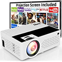 TMY Full HD 1080p 4500-Lumens Home Theater Projector with 100 Inch Projector Screen