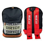 JDM Racing Backpack brown bottom with Red SP Racing Harness Shoulder Straps Super Cool NEW