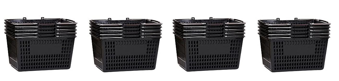Shopping Basket (Set of 5) Durable Black Plastic with Metal Handles (4-(Pack))