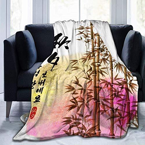 Manta personalizada, pintura de tinta de bambú para Chuseok coreano, suave y cómoda manta de felpa para sofá, dormitorio, viaje, manta esponjosa de 102 x 122 cm