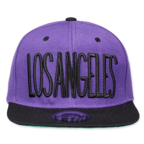 Original Snapback Taille unique, Los Angeles City noir/violet + autocollant original My Chicos.