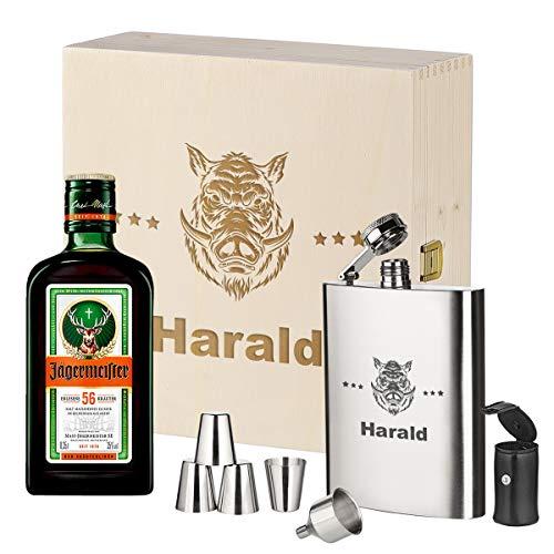 Set de regalo de 3 piezas, petaca, caja de madera y jägermeister personalizado con diseño de deseos, regalo para hombres, regalo de alta calidad, diseño de jabalí