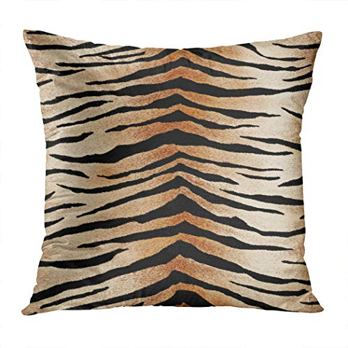 Qryipd Throw Pillow Cover Tiger Skin Zebra Animal Leopard Black Brown Paint Stripes White Print Living Room Car Sofa Bedroom Polyester Hidden Zipper Pillowcase Home Decor Cushion Case 18x18 Inch