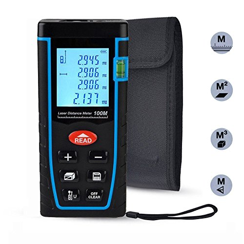 Laser Distance Measure, ieGeek 328ft Handheld M/In/Ft Laser Distance Meter Measuring Device Laser Tape Measure Rangefinder, Pythagorean Mode/Measure Area Volume Capacity/LCD Display/Self-Calibration
