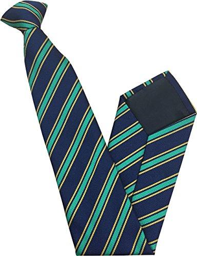 Cravate à Clipser - Bleu Marin avec Vert et Jaune Rayures