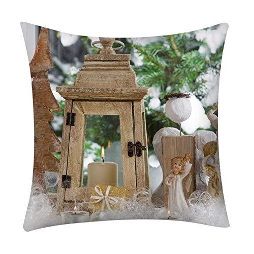 COMIOR Kissenbezüge 45x45 cm weich Kissenhülle weihnachtlich Quadratische Kissen Dekorative Zierkissenbezüge für Weihnachten Couch Sofa Home Decor Deko Wohnzimmer Sofa Schlafzimmer Auto (B)